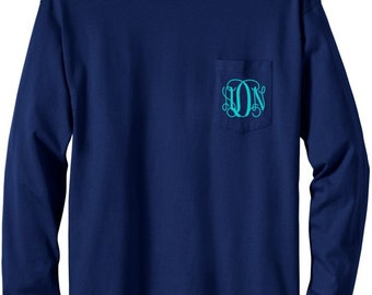 Navy Long Sleeve Monogrammed T Shirt with Pocket
