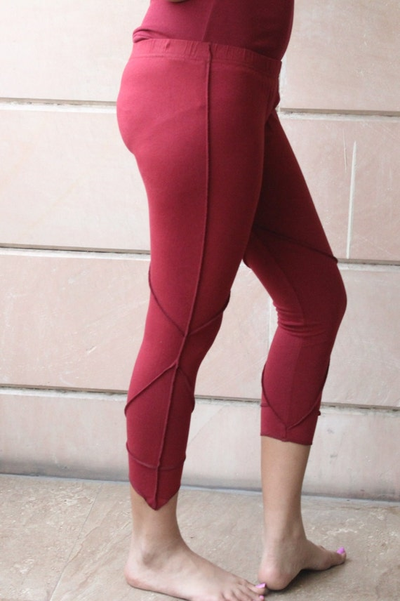 Items similar to Wine Color Leggings Medium Size Casual Wear Comfortable Fit boho Style on Etsy