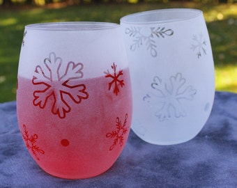 Snowflake Stemless wine glasses candle holder set of 2
