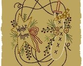 Prim Winter Wreath-Machine Embroidery Design~Version 2-(5x7)-INSTANT DOWNLOAD