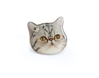 Exotic cat head ring / grey cat  / cat ring / cat jewelry / cat lover / kitten / cat memorial / pet lover / animal ring / gift / A0010-R C41