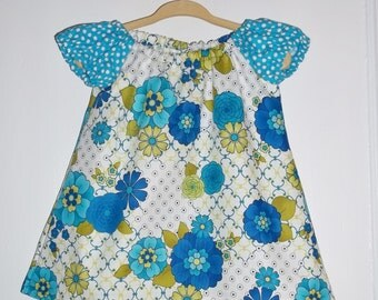 Retro Floral and Polka Dots Blue and Teal  Girls Dress Size 6-12months Hand Made  Ready To Ship  Spring Summer and Party Dress
