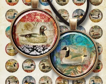 1 inch (25mm) and 1.5 inch size circle images EXOTIC ORIENTAL DUCKS Printable Digital Collage Sheet for pendants magnets cabochon settings