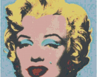 Andy Warhol Marilyn Monroe on Blue Counted Cross Stitch Pattern