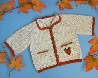 Cardigan sweater for baby boy or girl - Foxy Loxy - raglan style with fox applique Size 12 months