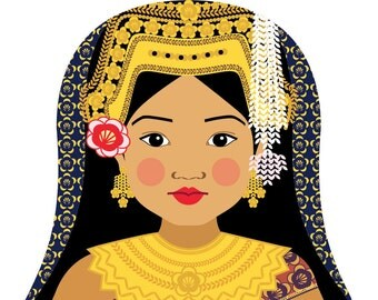 Cambodian Wall Art Print features cultural traditional dress drawn in a Russian matryoshka nesting doll shape
