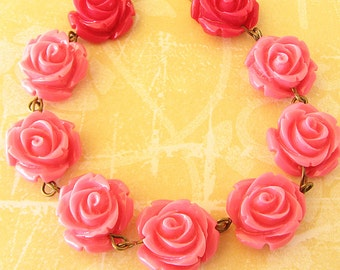 Beaded Necklace Flower Necklace Pink Jewelry Rose Necklace Rose Jewelry Bridesmaid Jewelry Gift For Her