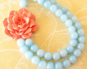 Flower Necklace Statement Necklace Coral Jewelry Aqua Necklace Bridesmaid Jewelry Gift Beaded Necklace