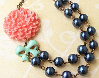 Charm Necklace Flower Necklace Navy Blue Jewelry Bow Necklace Statement Necklace Coral Jewelry Gift for Her