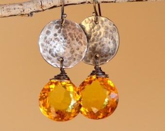 Citrine Teardrop Earrings. Oxidized Sterling Silver. November Birthstone. Yellow Citrine Gemstone Earrings. Fine Jewelry.