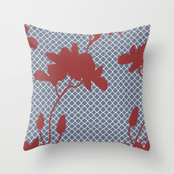 Red Throw Pillows Etsy : Items similar to Blue Grey Geometric and Red Floral Throw Pillow Cover on Etsy