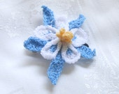 blue and white columbine hair clip hand crochet with thread, floral barrette, free shipping, stocking stuffer