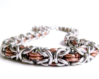 Thick Chainmaille Necklace - Copper & Stainless Steel - Byzantine Pattern
