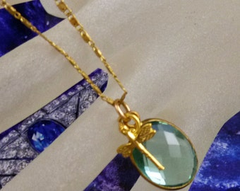 22k Gold Vermeil Green Amethyst Pineapple Faceted Dragonfly Gemstone Necklace