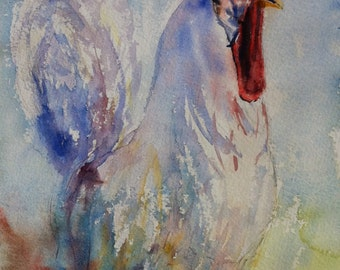 White Leghorn Rooster Print of my Original Water Color