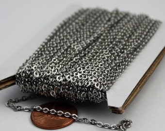 Stainless Steel chain bulk,  10 ft of Surgical Stainless Steel Small Soldered Sturdy FLAT cable chain - 3.1x2.0mm SOLDERED Link