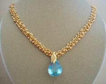 Viola -- Aquamarine Gemstone and Gold Cluster Chain Necklace