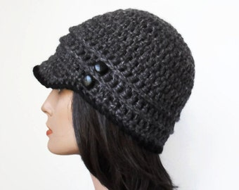 Grey and Black Hemp Wool  Eco Friendly Woodland Inpsired hat Boho button Autumn Fall Winter Fashion made to order