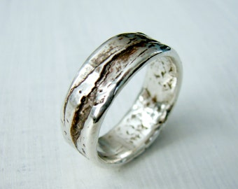 Simple Sterling Silver Ring - Birch Bark or Wood Grain Mountain Wedding Ring for Rustic Wedding