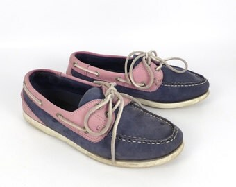 Boat Shoes Vintage 1990s Chatham Pink and Blue Deck Leather Men's size 40 7