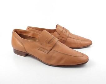 Men's Shoes Loafers Tan Carmel Brown Leather Vintage 1970s Men's Size 9 1/2 M