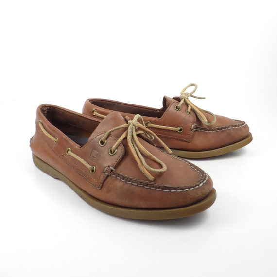 brown boat shoes vintage 1990s sperry topsiders leather