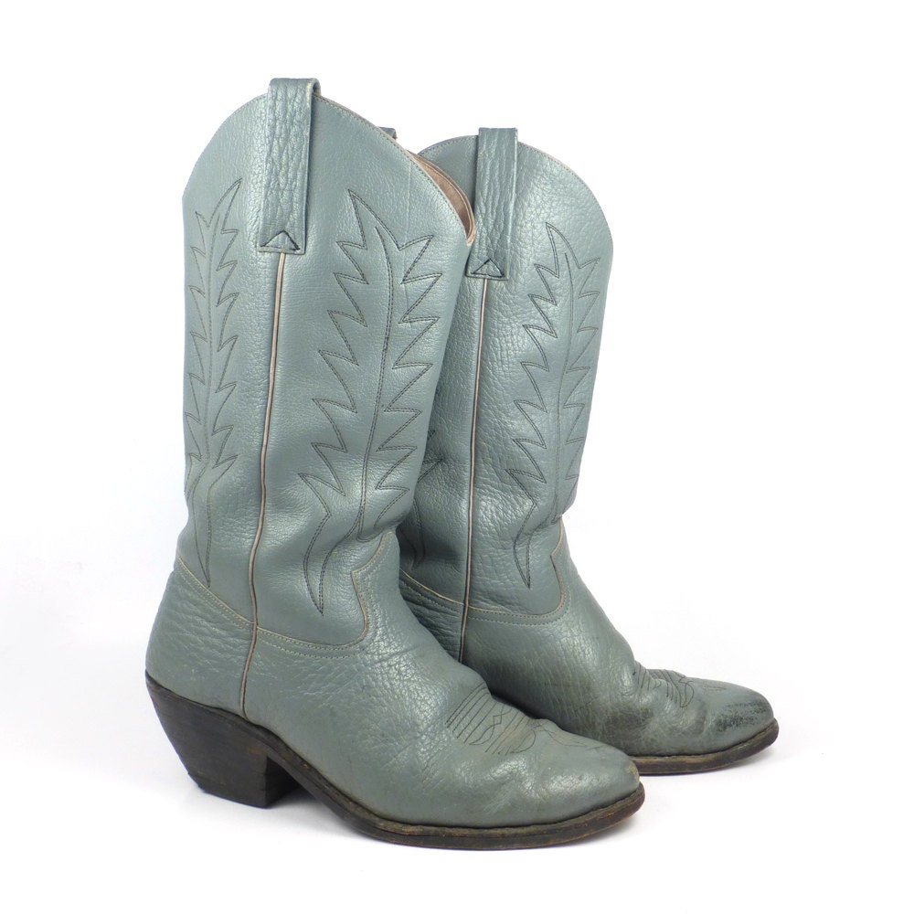 gray cowboy boots vintage 1980s wide s by