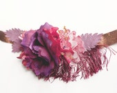 Xmas SALE Copper Flowers BELT SASH bridal bridesmaid burgundy