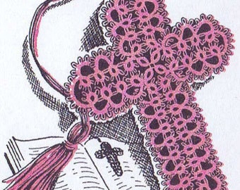 Bible Bookmark Tatting PATTERN for Tatted Cross Book Mark taken from 1950s Workbasket 5710