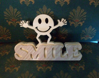 Wooden Smile sign display
