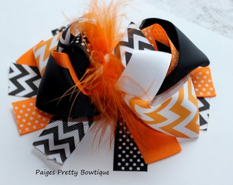 """5.5-6"""" Black & Orange Funky Hair Bow-Over The Top Bow"""