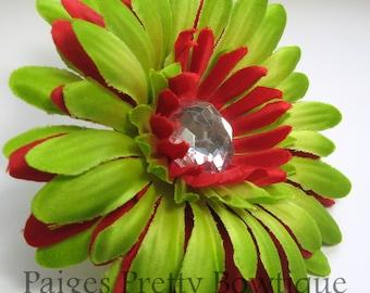 "CLOSEOUT-4"" Lime Green & Red Gerbera Daisy Clip-Flower Hair Clip-Alligator Clip"