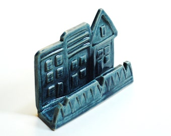 Business card holder,pottery card holder,realtor gift,teal house display,clay card display,teal desk decor,townhouse holder, desk ornament