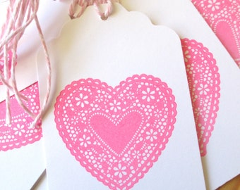 Pink Lace Heart Gift tags, Pink Valentine Tags, Pink Lace Heart Tags