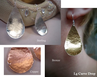 Lg hammered curved tear drop - earrings with ear wire or post - copper, bronze, or sterling