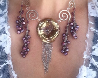 Waterfall Camellia in cascading dusty rose on sterling spirals