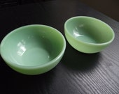Set of Two Fire King Jadeite Soup or Cereal Bowls