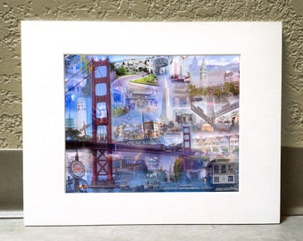 The Golden Gate City 11 x 14 Matted Print - San Francisco, CA