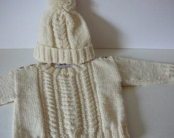 Toddler Aran Cable Sweater and Hat Set/Baby Boys/Acrylic     MADE TO ORDER