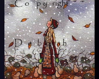 God's Speed and Safe Journey  A tiny aceo Autumn Print Gourd Harvest Geese Autumn Leaves