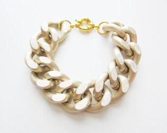 Oversize Matte Gold Chunky Chain Bracelet