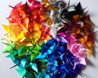 100 Small Origami Cranes Paper Crane Origami Crane - Made of 7.5cm 3 inches Japanese Paper - 50 Colors