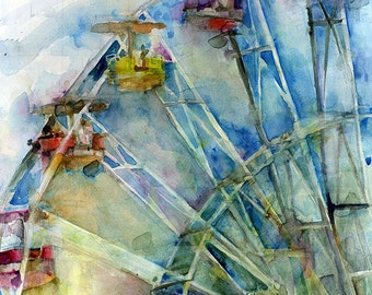 ART PRINT  - Ferris Wheel  from Original watercolor Painting