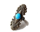 Rococo Vintage Style Brass Ring with Turquoise Stone