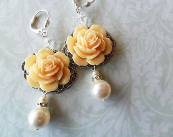 Romantic Cream Ivory Rose Flower Bridal Earrings with Swarovski Pearls and Crystals, vintage wedding, whimsical, bridesmaid, antique silver