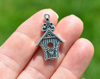 10 Silver Bird House Charms SC2215