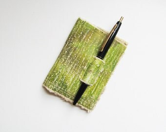 Fabric Wallet from vintage acrylic painting Ripped - Primitive with pen holder Green Bifold Canvas Wallet