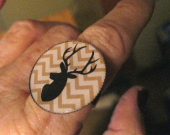 Reduced, DEER Ring // Elk // Reindeer // Black silhouette on Chevron Background // Woodland Animals // inch round // adjustable