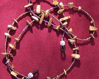 Eyeglass Lanyard/Chain - Handmade Leopard Skin Jasper by JewelryArtistry - L40