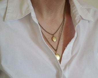 Locket Set Necklace Boho Necklace Double Strand Necklace Locket Set Vintage Locket Pendant Locket Necklace Locket Jewelry